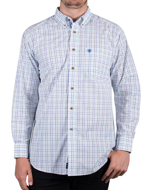 Ariat Men's Check Patterned Long Sleeve Shirt, White, hi-res
