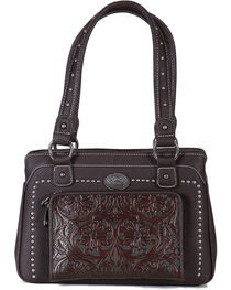 Montana West Women's Built-in Wallet Tooled Messenger Bag, , hi-res