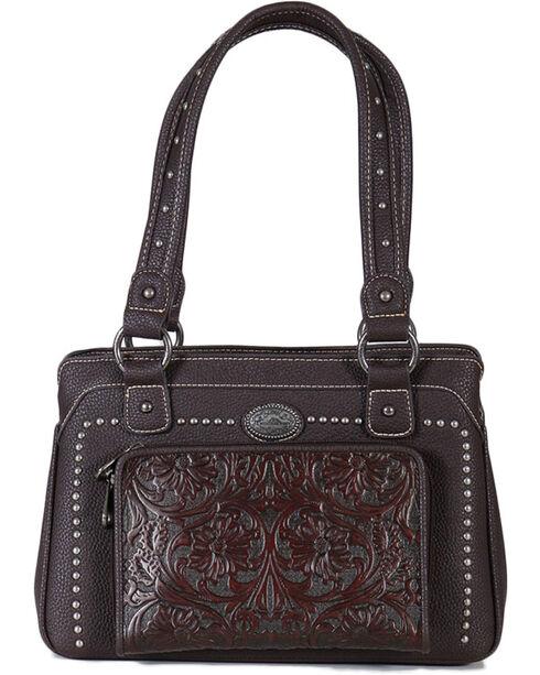 Montana West Women's Built-in Wallet Tooled Messenger Bag, Mauve, hi-res