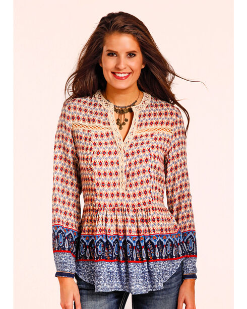 Panhandle Women's Blue Border Print Challis Tunic , Multi, hi-res