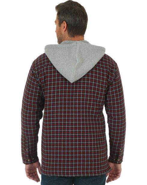 Wrangler Men's Burgundy Riggs Workwear Hooded Flannel Jacket , Burgundy, hi-res