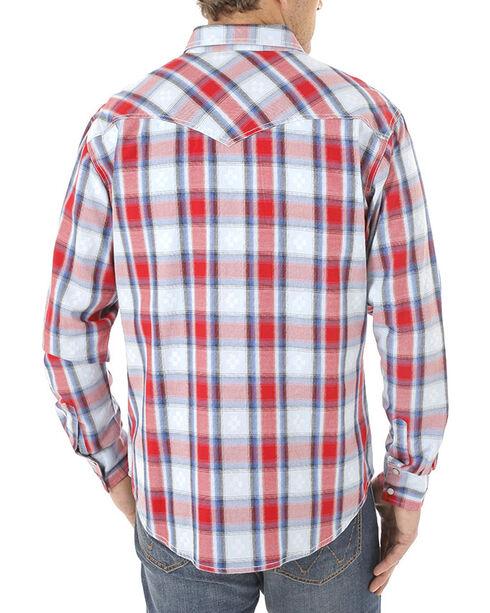 Wrangler Men's Retro Americana Plaid Long Sleeve Shirt, Red, hi-res