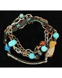 Blazin Roxx Mixed Stones Leather Strap Bracelet, , hi-res