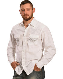 Ely 1878 Men's White Windowpane Dobby Western Shirt , , hi-res