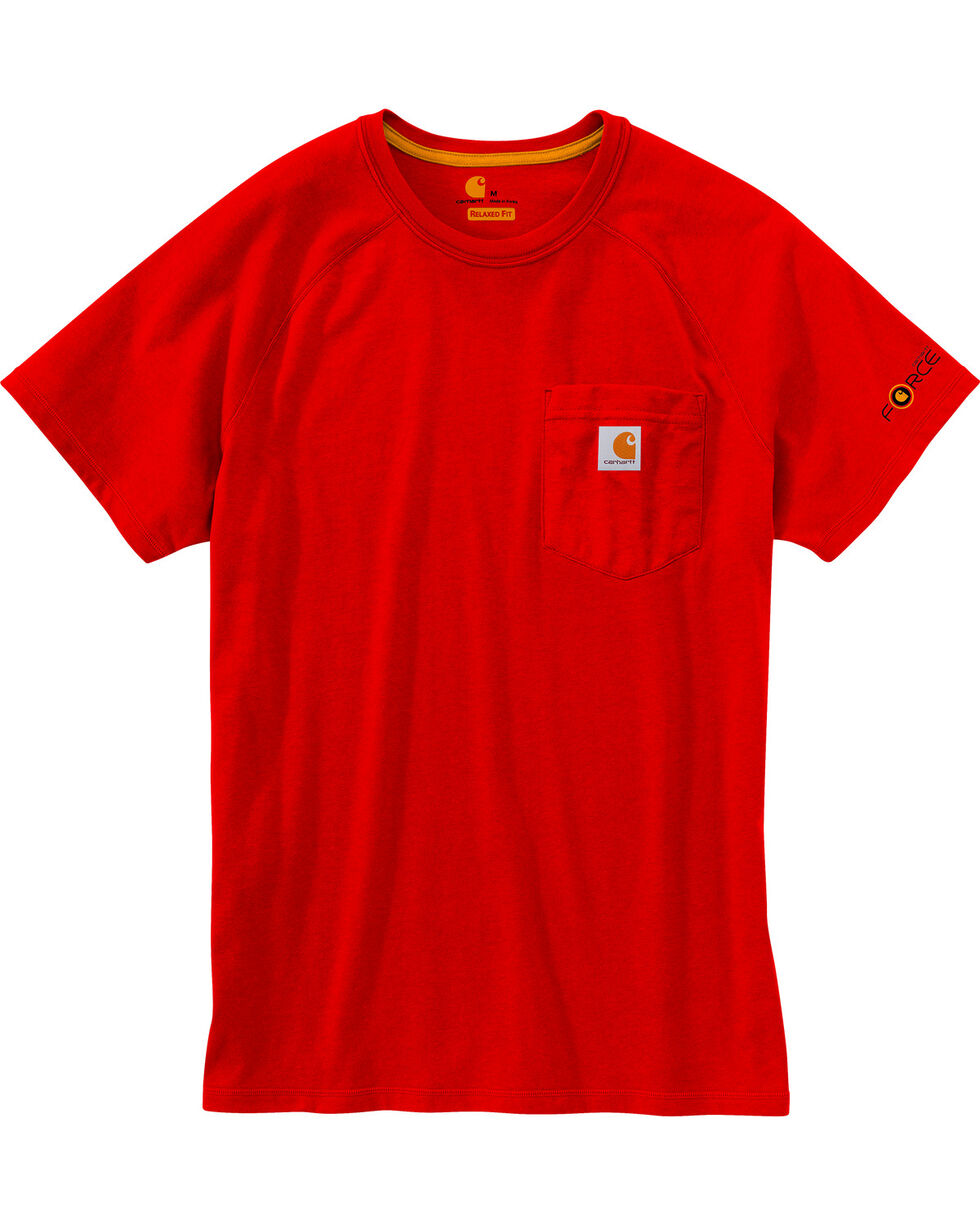 Carhartt Men's Red Force Cotton Delmont Short Sleeve Shirt, Red, hi-res
