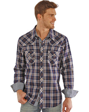 Rock & Roll Cowboy Men's Navy Plaid Long Sleeve Shirt, Plaid, hi-res