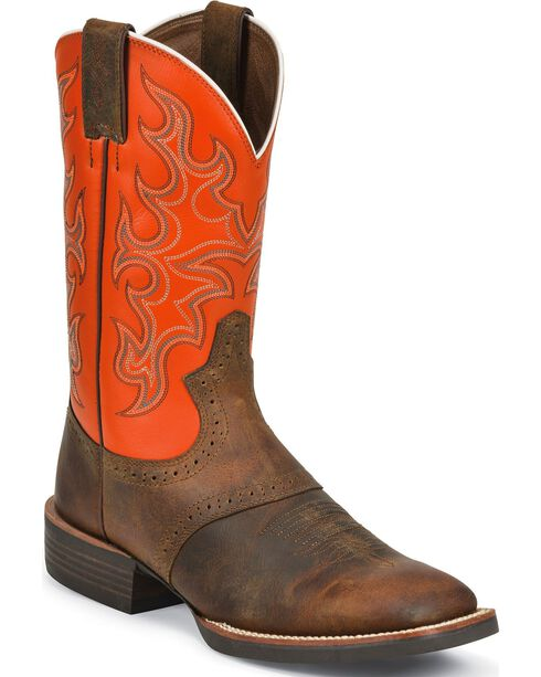 Justin Men's Silver Collection Western Boots, Tan Distressed, hi-res