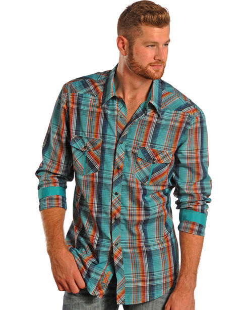 Rock & Roll Cowboy Men's Long Sleeve Snap Button Down Shirt, Plaid, hi-res
