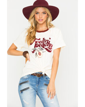 Others Follow Women's Feeling Peachy Graphic Ringer Tee, Ivory, hi-res