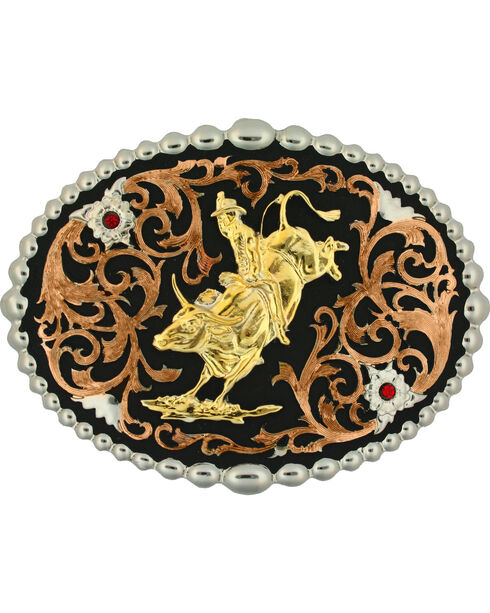 Montana Silversmiths Tri-Color Bull Rider Attitude Belt Buckle, Multi, hi-res