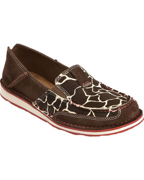 Ariat Women's Giraffe Print Cruiser Slip-on Shoes, Chocolate, hi-res