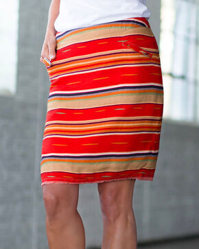 Ryan Michael Women's Red Serape Skirt , Red, hi-res