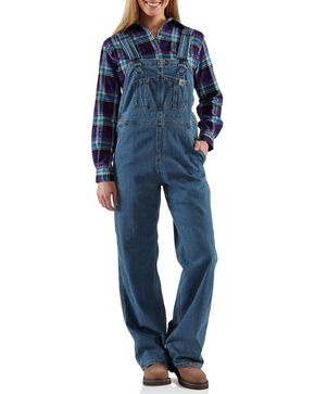 Carhartt Women's Denim Bib Overalls, Denim, hi-res