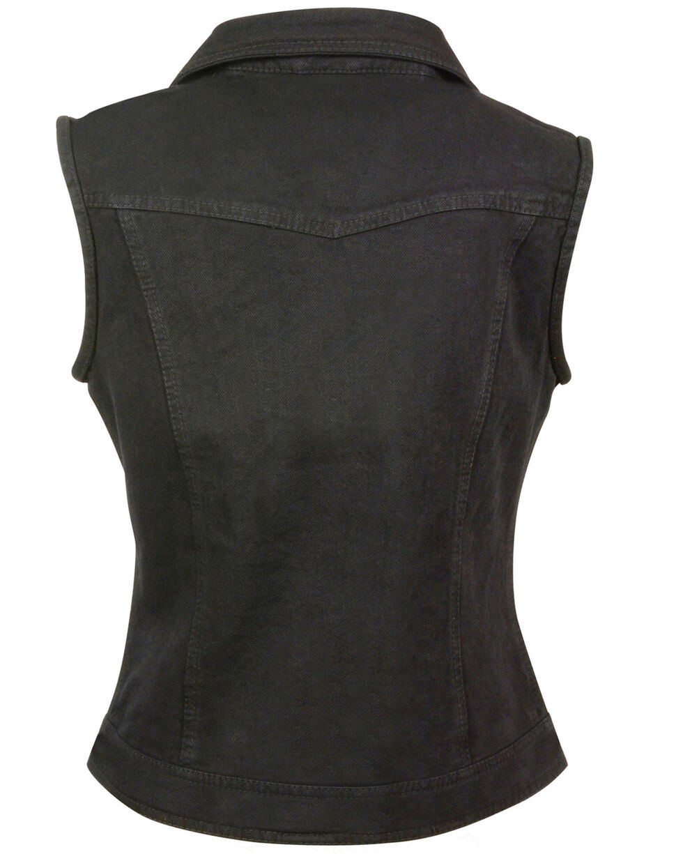Milwaukee Leather Women's Studded Zip Front Denim Vest, Black, hi-res