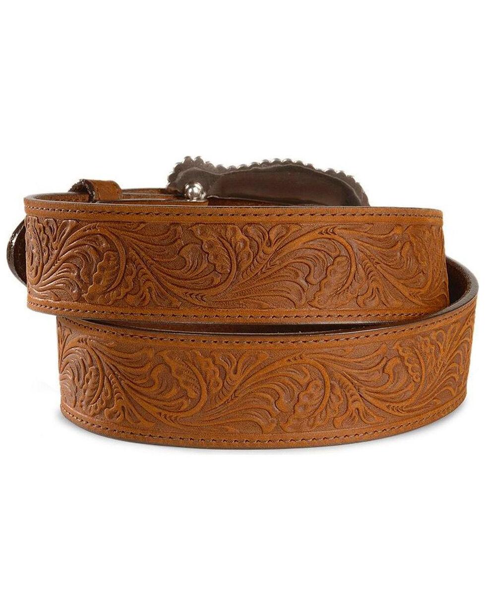 Tony Lama Women's Tooled Leather Layla Belt, Brown, hi-res