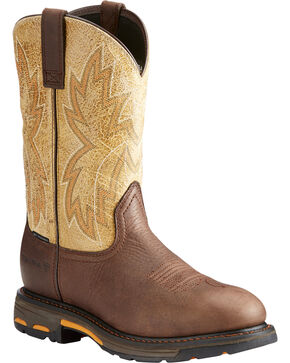 Ariat Men's Brown WorkHog Raptor Western Boots - Composite Toe , Brown, hi-res