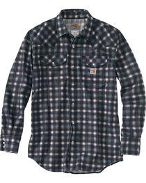 Carhartt Men's Plaid Grey Flame-Resistant Snap-Front Shirt , , hi-res