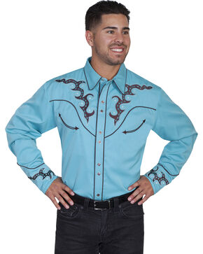 Scully Men's Embroidered Yoke Western Shirt , Turquoise, hi-res