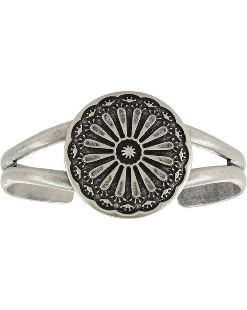 Montana Silversmiths Women's Antiqued Sunflower Cuff Attitude Bracelet, Silver, hi-res