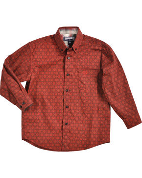 Panhandle Boys' Red Patterned Western Shirt , Red, hi-res