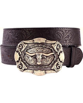 Cody James® Men's Tooled Leather Belt and Buckle, Black, hi-res