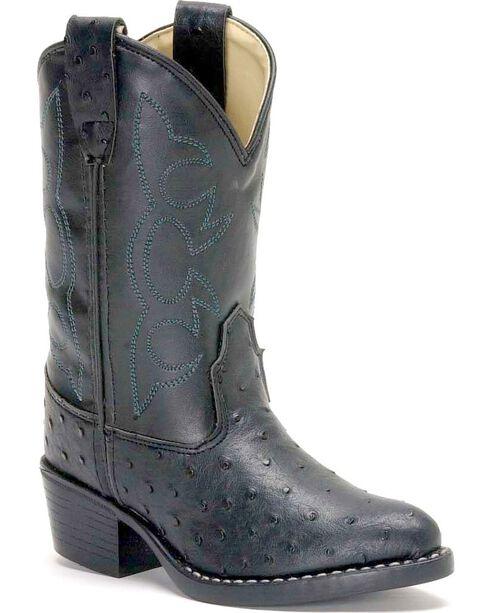 Jama Children's Ostrich Print Western Boots, Black, hi-res