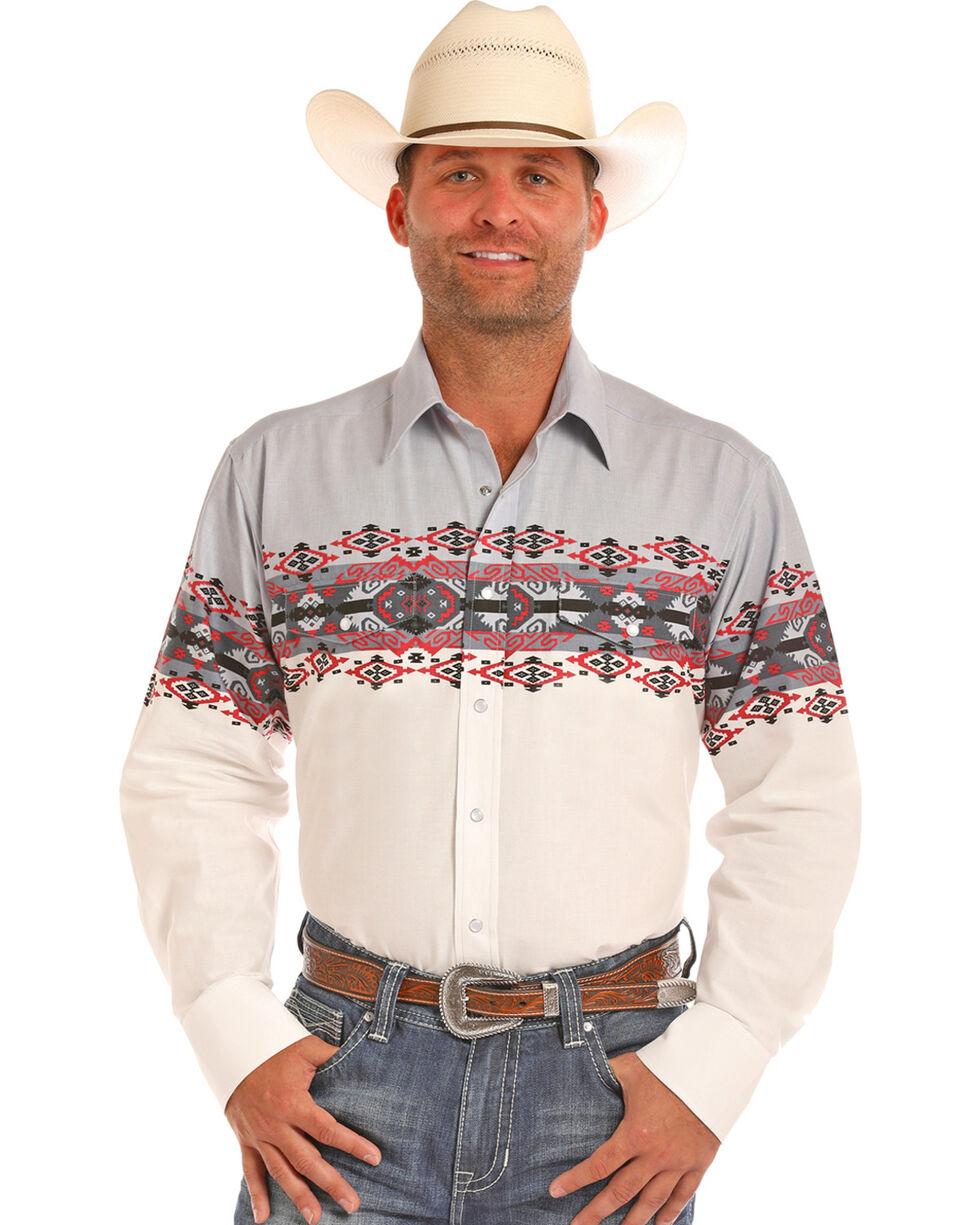 Panhandle Men's Aztec Border Print Long Sleeve Western Shirt, White, hi-res