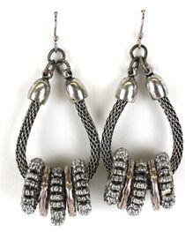 Treska Silver Loop Earrings With Antiqued Rings, , hi-res
