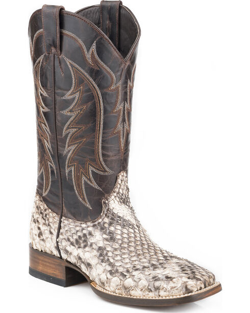 Stetson Men's Giant Python Western Boots - Square Toe , Tan, hi-res
