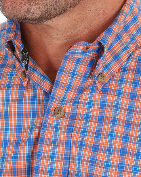 Wrangler Men's Orange and Blue Plaid Short Sleeve Shirt , Orange, hi-res