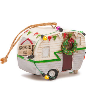 BB Ranch Silver Trailer With Lights Ornament, Silver, hi-res