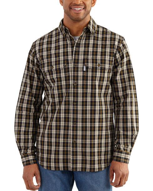 Carhartt Men's Black Plaid Fort Long Sleeve Shirt - Tall, Black, hi-res