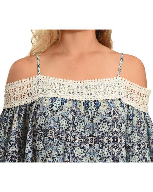 Derek Heart Women's Cold Shoulder Top with Crochet Detail, Blue, hi-res
