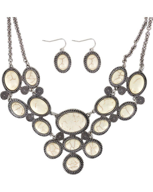 Shyanne® Women's Marble Stone Jewelry Set, Silver, hi-res