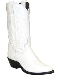 Abilene White Western Cowgirl Boots - Round Toe , , hi-res
