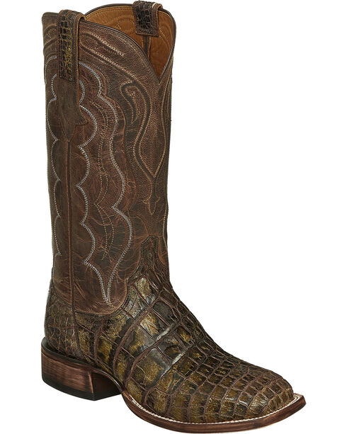 Lucchese Chocolate Vince Giant Gator Cowboy Boots - Square Toe  , Chocolate, hi-res