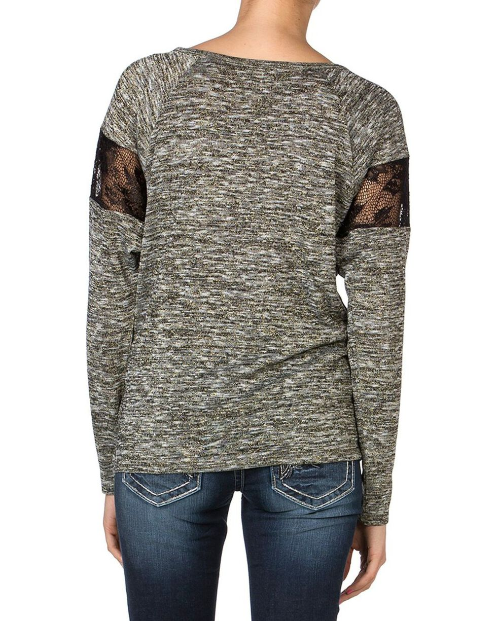 Miss Me Women's Metallic Floral Long Sleeve Shirt, Charcoal Grey, hi-res