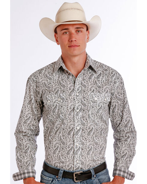 Panhandle Slim Men's Black Vivola Vintage Print Long Sleeve Shirt , Black, hi-res