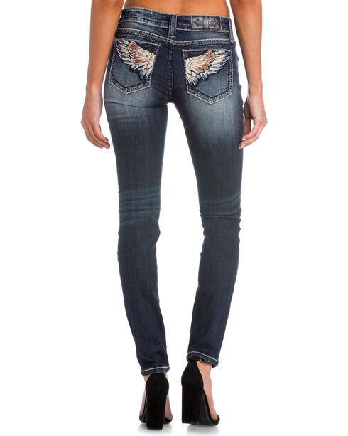 Miss Me Women's Indigo Wing Embroidered Jeans - Skinny , , hi-res