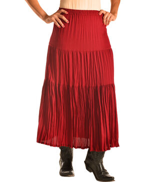 "Pink Cattlelac Women's Red Crinkle Skirt - 36"" , Red, hi-res"