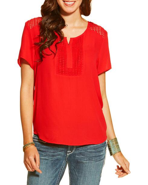 Ariat Women's Malone Top, Crimson, hi-res