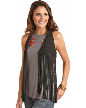 Rock & Roll Cowgirl Women's Black Double Fringe Vest , Black, hi-res