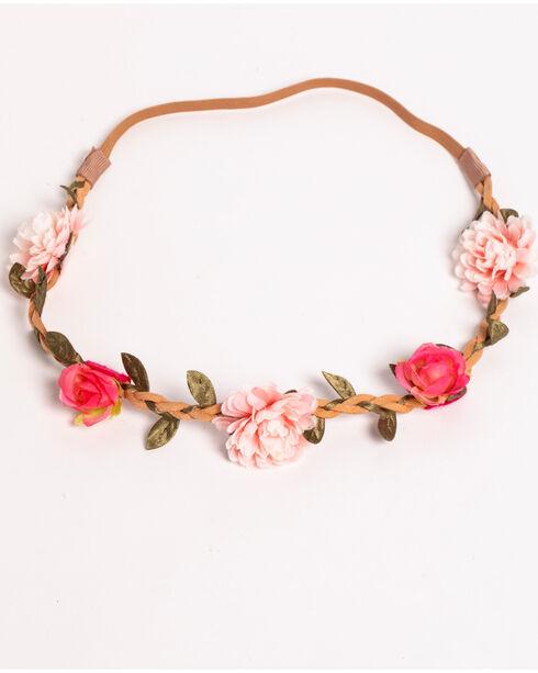 Shyanne Women's Braided Floral Wreath, Pink, hi-res