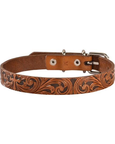 Double Barrel Tooled Cross Leather Dog Collar - S-XL, Tan, hi-res