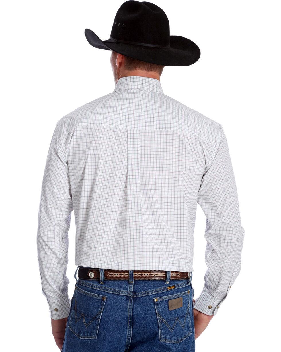 Wrangler George Strait Men's Plaid Long Sleeve Shirt, Pink, hi-res