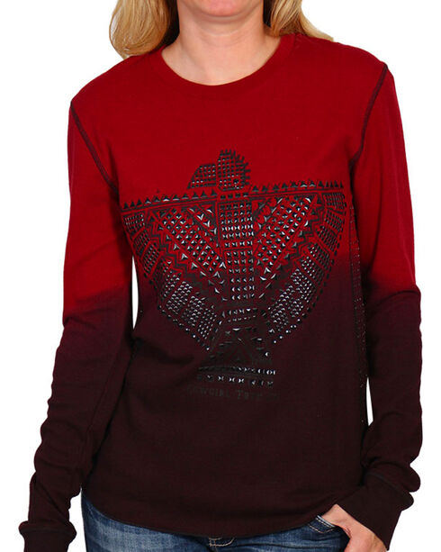 Cowgirl Tuff Women's Aztec Stud Long Sleeve Thermal Shirt, Red, hi-res