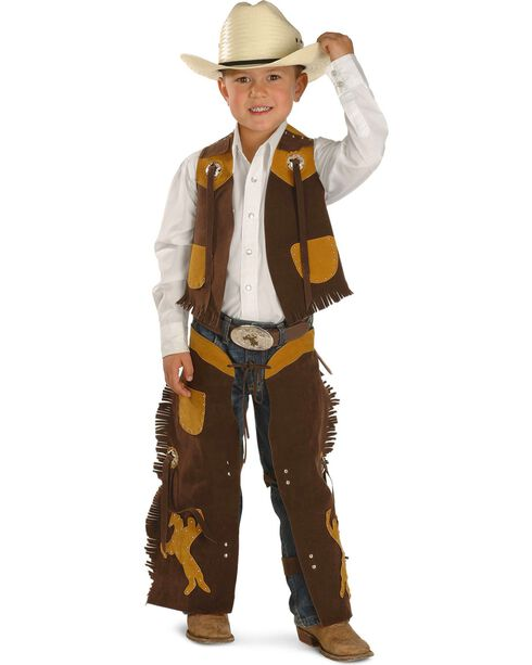 M&F Kid's Cowboy Chaps and Vest Play Set, Brown, hi-res