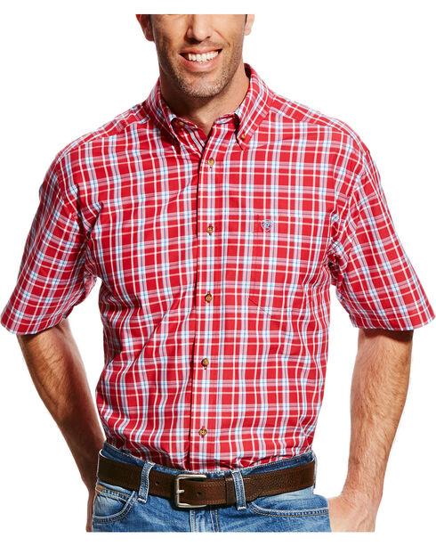 Ariat Men's Red Cedric Plaid Short Sleeve Shirt - Tall , Red, hi-res