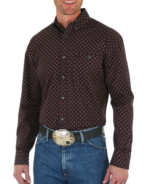 George Strait by Wrangler Print Long Sleeve Shirt, Wine, hi-res