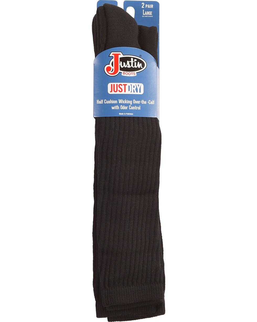 Justin Men's JUSTDRY Over-the-Calf Socks, Black, hi-res